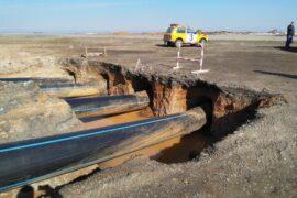 Прокол для газопровода под межобластной автотрассой